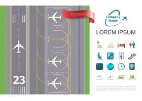 与跑道机场和专题象例证的平的航空旅行_12858753