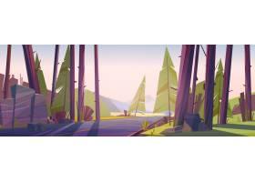 与路和山的森林风景在天际_15241076