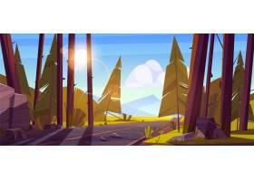 与路的风景通过森林和山在天际_12332093