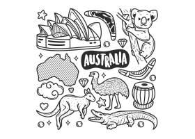 澳大利亚图标手绘涂鸦着色_7754831