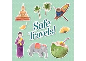 与亚洲旅行概念的贴纸设计字符动画片被隔绝_11173191