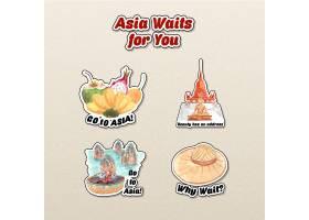 与亚洲旅行概念的贴纸设计字符动画片被隔绝_11173210