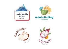 与亚洲旅行概念设计的商标设计为品牌和营销_11173142