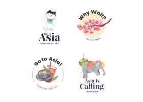 与亚洲旅行概念设计的商标设计为品牌和营销_11173146