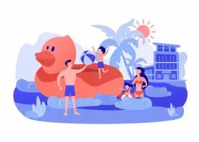 父母孩子游泳晒日光浴在海上度假村晒日_11669338
