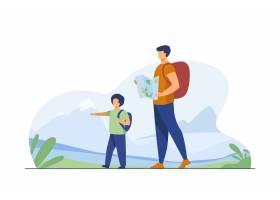 爸爸和儿子有背包走的户外有迁徙在山平的_10606337