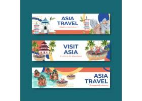 与亚洲旅行概念设计的横幅模板广告和营销水_11173090
