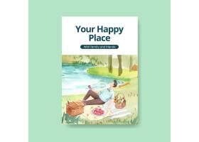 与野餐旅行概念的海报模板广告水彩插图的_12719727