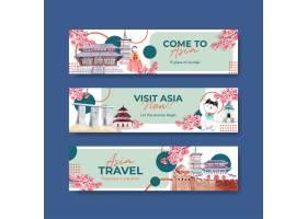 与亚洲旅行概念设计的横幅模板广告和营销水_11173094