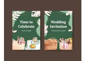 与野餐旅行概念设计的明信片模板问候和邀请_12719720