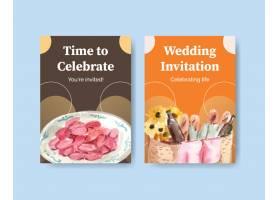 与野餐旅行概念设计的明信片模板问候和邀请_12719721