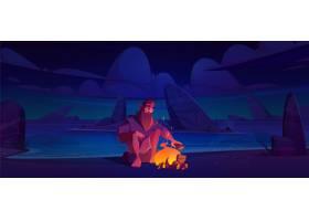 独自的海岛上的单独投鸭人有篝火的在晚上_12760707