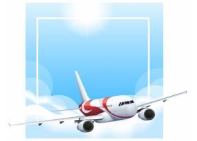 与飞机飞行的边界模板在天空_5837294