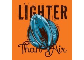 与飞行飞艇的例证的T恤杉标签设计_13381617