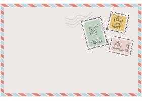 盖章明信片框架与旅行主题_13311480