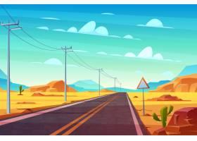 空的高速公路路在沙漠走远程地平线动画片_4758652
