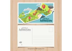 与冒险风格的旅行明信片模板_2346215