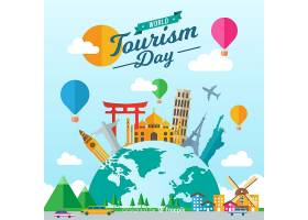 世界旅游日背景与平面设计的纪念碑_2848071
