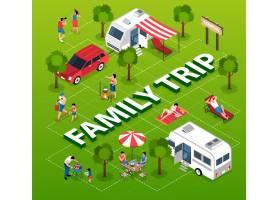 等距露营车面包车和家庭旅行流程图图_13995918