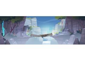 与日志桥梁的山风景在有瀑布的河上的在雾_13778528