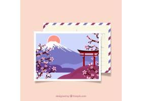与日本风景的旅行明信片_2362392