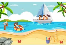 与孩子的海滩场面帆船的_13832652