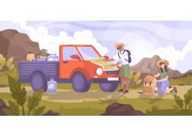 与小卡车和小组的汽车旅行平的构成在山风景_15481089