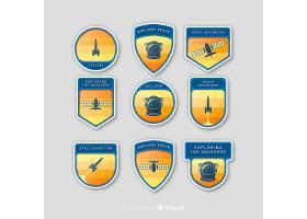 五颜六色的空间徽章汇集与平的设计_2935082