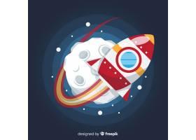 与平的设计的五颜六色的空间火箭作曲_2879364