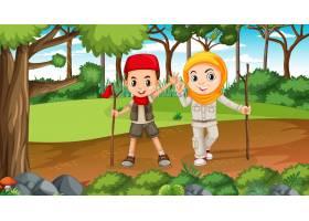 与探索在森林里的穆斯林孩子的自然场面_16253620