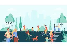 人群实践的活动和享受在城市公园附近的街道_11235309