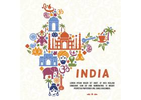 以印度地图模板的形式传统印地安符号_13153688