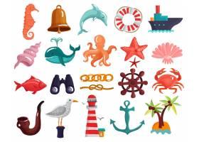 航海元素和海洋生活收集_4386029