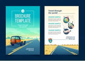 与沙漠风景的小册子模板与suv的旅行概念_3519631
