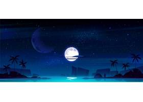 与海湾的热带风景在晚上_12900265