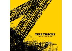 轮胎轨道在难看的东西黄色背景_1107067