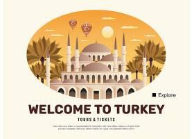 土耳其旅游海报与旅游和门票符号平_13768804