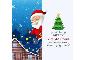 圣诞快乐和新年快乐贺卡与圣诞老人_12364845
