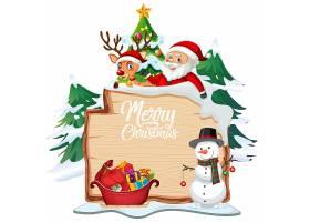 圣诞快乐在木板的字体标志有圣诞节漫画人物_12364551