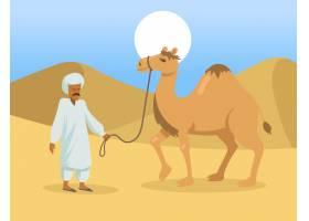阿拉伯人有一个驼峰骆驼在沙漠中_13682945