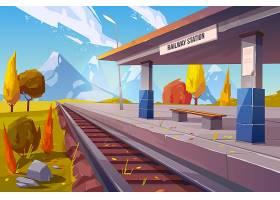 在山秋天风景的火车站_5468552