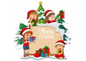 在木板的圣诞快乐字体有孩子和圣诞节对象的_12364774