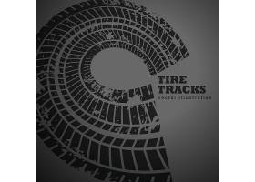 在黑暗的背景的圆轮胎轨道_1107065
