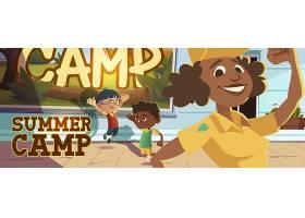 夏天营海报与人们去徒步旅行_16306807