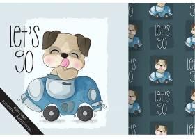 在汽车无缝的样式的逗人喜爱的动物狗猪_13418841