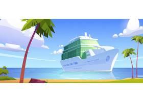 在海洋现代白色船豪华风船的巡航划线员在海_15755587
