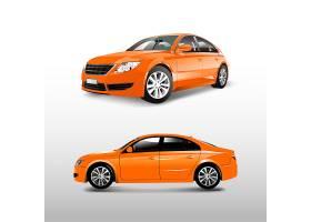 在白色传染媒介隔绝的橙色轿车汽车_3601330