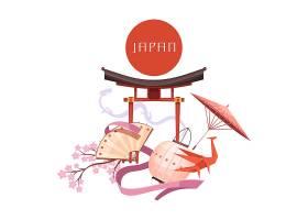 在白色背景减速火箭的动画片的日本文化元素_4282617