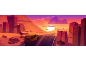 驾驶路在日落沙漠或峡谷的美好的风景与红色_12029594
