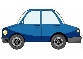 在白色隔绝的动画片样式的蓝色轿车汽车_15657519